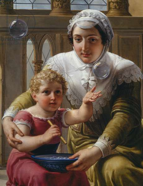 Woman with child and soap bubbles, detail of Isaac Newton's (1642-1727) discovery of refraction of light, 1827, oil on canvas by Pelagio Pelagi (1775-1860), cm 170x220, Italy, 19th century