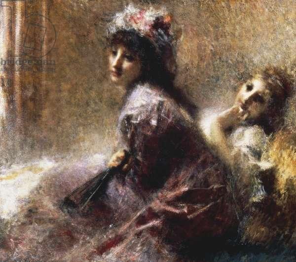Listening (oil on canvas)