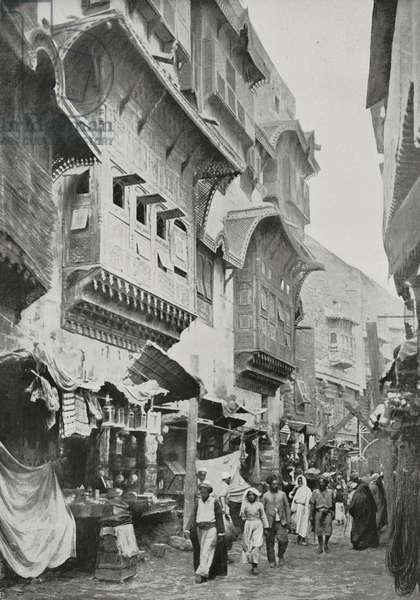 The Medina road leading to the Prophet's Mosque, Saudi Arabia, photo by Gervais-Courtellemont from L'Illustration, No 3423, October 3, 1908