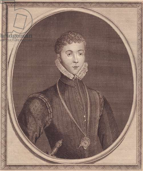 Portrait of Henry Stuart, Lord Darnley (1545-1567), King Consort of Scotland, copper engraving by John Goldar (1729-1795) from painting by Lucas de Heere, 19x16 cm, from History of England by Paul de Rapin, Harrison's Edition, London, December 16, 1786