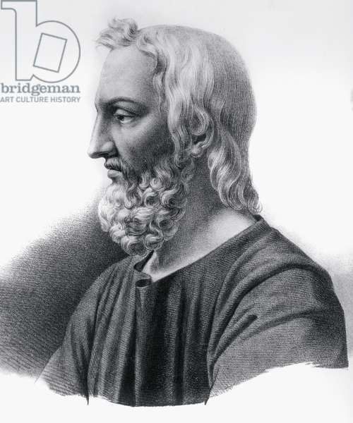 Portrait of Pedanius Dioscorides (circa 40-circa 90), Greek physician, botanist and pharmacist, engraving
