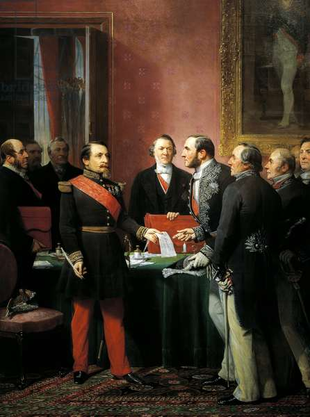 Napoleon III hands over decree allowing annexation of suburban communes of Paris to Baron Georges Haussmann in June 1859, by Adolphe Yvon (1817-1893), oil on canvas, 327x230 cm, Second Empire, France, 19th century