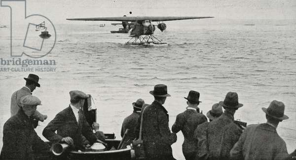 Amelia Earhart making sea landing in Burry Port, Wales, after crossing Atlantic Ocean by plane, June 17, 1928, from L'Illustrazione Italiana, Year LV, No 27, July 1, 1928