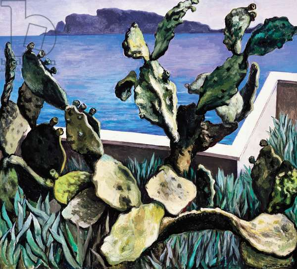 Cactus on the Gulf of Palermo, 1978, by Renato Guttuso (1911-1987), oil on canvas, 90x100 cm. Italy, 20th century.