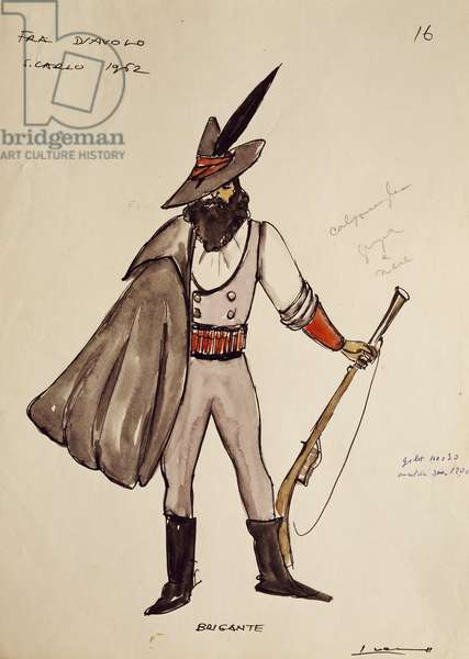Costume sketch for brigand of opera Fra Diavolo (1830), by Daniel Francois Auber, 1962