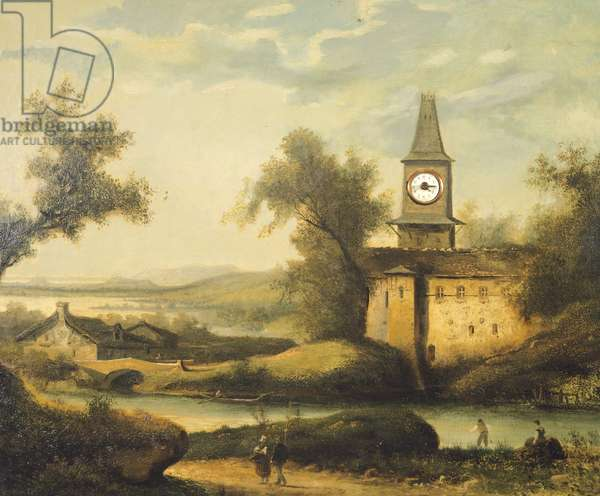 Jura landscape with a church steeple and clock mechanism, by an unknown French painter, 19th century.