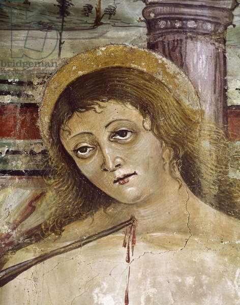St. Sebastian, detail from Madonna and Child with Saints, 16th century fresco, Church of St. Donato, Civita di Bagnoregio, Italy