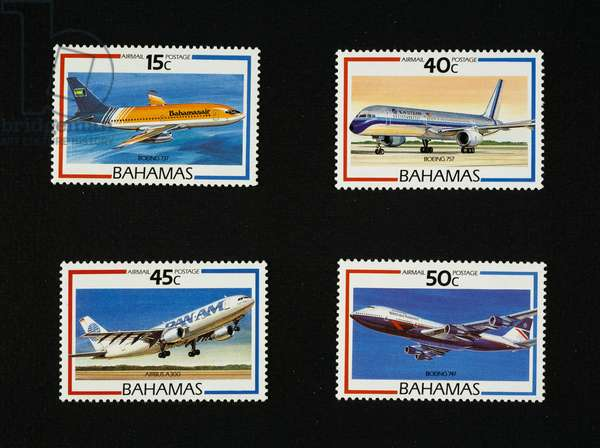 Airmail stamps from Airliners series, 1987, depicting, Bahamasair Boeing 737, Eastern airlines Boeing 757, Pan Am Airbus 300, British airways Boeing 747, Bahamas