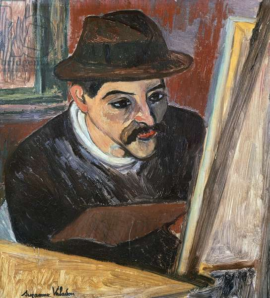 Maurice Utrillo in front of his easel, by Suzanne Valadon (1867-1939)