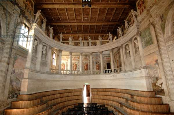 Interior of Ancient theatre, built between 1588-1590 by Vincenzo Scamozzi (1548-1616) for Vespasiano I Gonzaga, Sabbioneta (Unesco World Heritage List, 2008), Lombardy, Italy