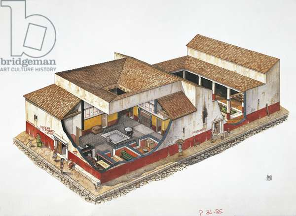 Illustration representing reconstruction of residential house in Pompeii, Italy