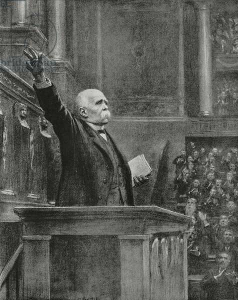 Georges Clemenceau (1841-1929), French Prime Minister, announcing armistice Germany to Chamber of Deputies, Paris, France, November 11, 1918, illustration by J Simont from magazine L'Illustration, year 76, nos 3950-51, November 16-23, 1918