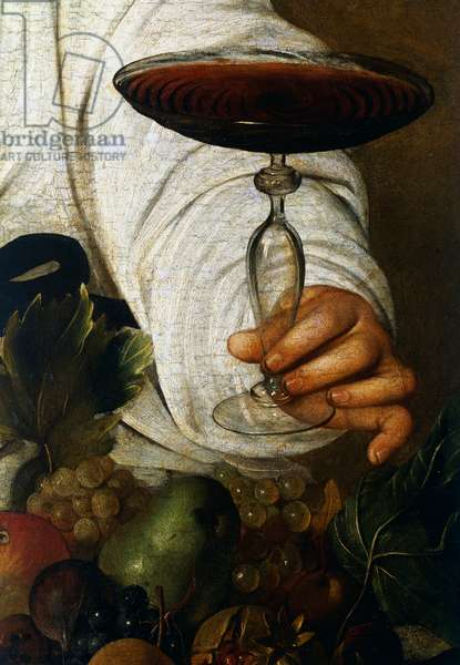 Glass of wine, detail from Bacchus, 1593-1594 (oil on canvas)