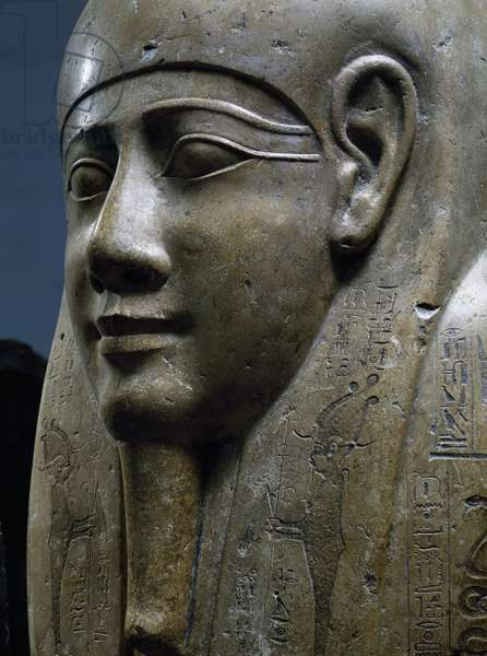 The Sarcophagus of Udjahor, with God Osiris on wig, limestone, Detail, Egyptian civilization, Ptolemaic Period
