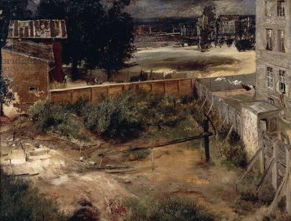 The back of a house and yard (Hinterhaus und Hof), ca 1846, by Adolph Menzel (1815-1905), oil on canvas, 44.5 x61.5 cm.