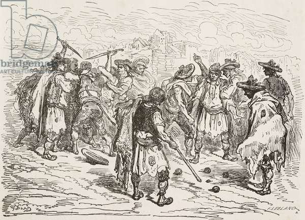 Fight at a ball game in Valencia, drawing by Dore, from Travels in Spain by Gustave Dore (1832-1883) and Jean Charles Davillier (1823-1883), 1862