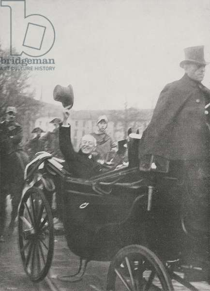 President of United States Thomas Woodrow Wilson (1856-1924) greets crowd from his carriage, in Milan, Italy, from magazine L'illustrazione italiana, year XLVI, no 2, January 12, 1919