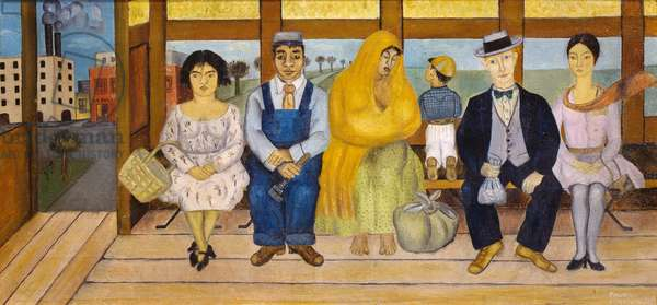 The bus, 1929, by Frida Kahlo (1907-1954), 26x55 cm, oil on canvas. Mexico, 20th century.