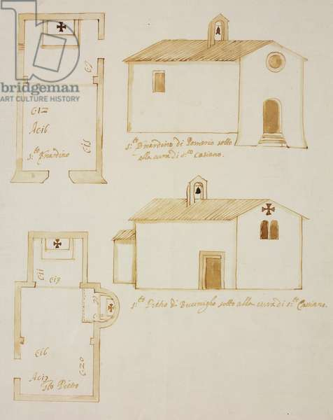Plants and elevations of oratories of Saint Bernardine in Pomerio and Saint Peter Apostle, Buccinigo, parish of Incino Erba, designed on occasion of visit of Carlo Borromeo, about 1574, Italy, 16th century
