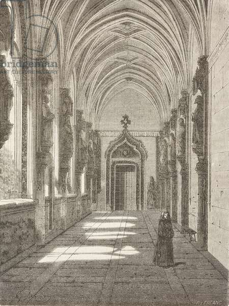 Cloister in monastery of St John of Kings in Toledo, Castile-La Mancha, Spain, drawing by Dore, from Travels in Spain by Gustave Dore (1832-1883) and Jean Charles Davillier (1823-1883)