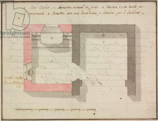 Oratory of Saint Bernardine, Pomerio, Buccinigo, parish of Incino Erba, May 28, 1766, Cardinal Giuseppe Pozzobonelli, plan, Italy, 18th century