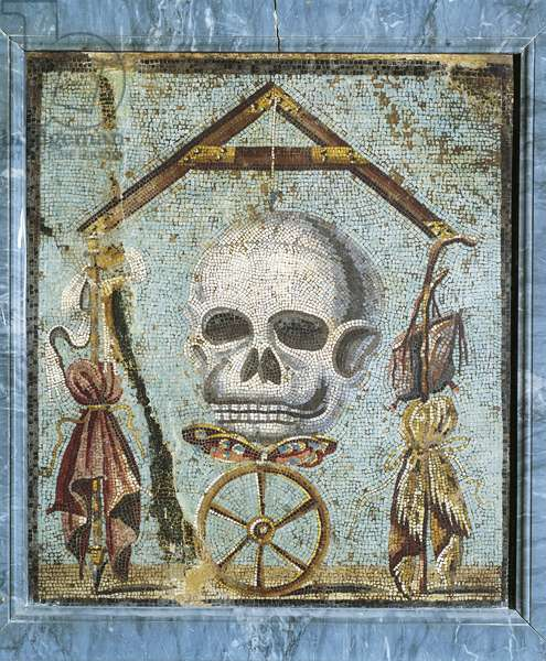 Second style opus vermiculatum mosaic, memento mori with skull and plumb-rule, from Pompei