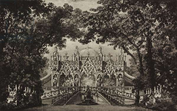 Pavilion in the park, sketch for Scene II of the ballet Rosa d'amore by Josef Bayer, Season 1899, from 500 stage design sketches in five volumes, 1919, by Carlo Ferrario (1833-1907).