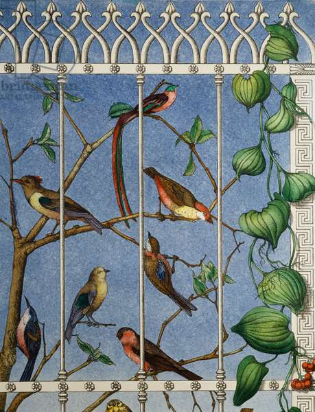 Screen with birds, 1950s