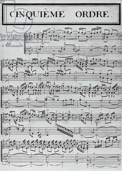 La Logiviere allemande, cinquieme ordre, sheet music, by Francois Couperin (1668-1733), autograph page, France, 18th century