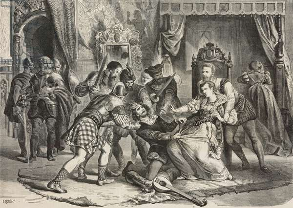 The capture of David Rizzio (about 1533-1566), Italian musician and secretary of Mary Stuart (1542-1587), Queen of Scots, before his murder in her presence, L'Illustrazione Universale, year 2, no 17, January 31, 1875