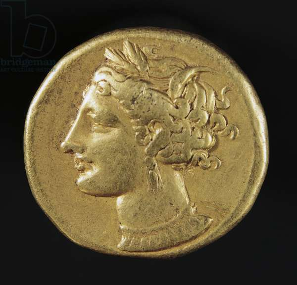 Carthage gold stater depicting head of Persephone, recto, Carthaginian coins, 4th century BC