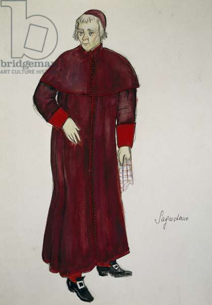 Costume sketch by G Metelli for role of sexton in opera Tosca, by Giacomo Puccini (1858-1924), performed at San Carlo Theatre in Naples