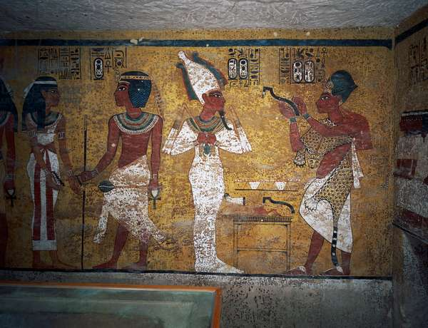 Ay performing Opening of Mouth ceremony, Tomb of Tutankhamun, Valley of the Kings, Ancient Thebes, Luxor (UNESCO World Heritage List, 1979), Egypt, XVIII Dynasty, 1347-1338 BC