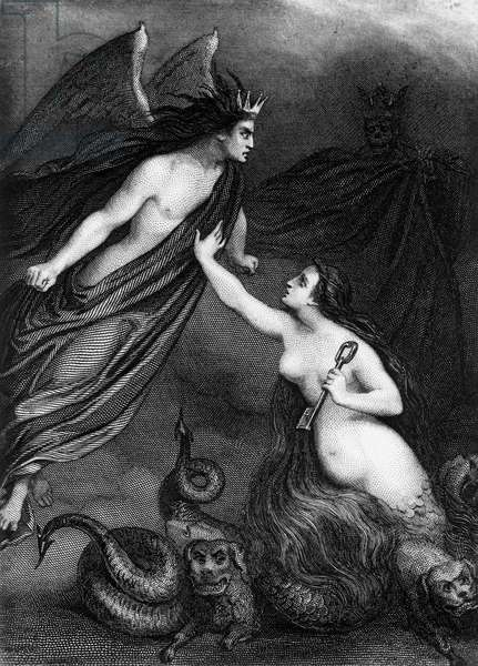 Illustration for Paradise Lost, epic poem by John Milton (1608-1674), engraving by Ferdinand Delannoy (1822-1887)