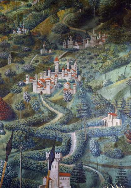 Castles, landscape detail from Procession of Magi, 1459 (fresco)