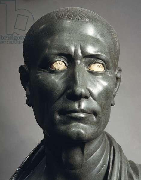 Green schist bust of Julius Caesar with marble eyes, Roman Civilization, 1-50 AD