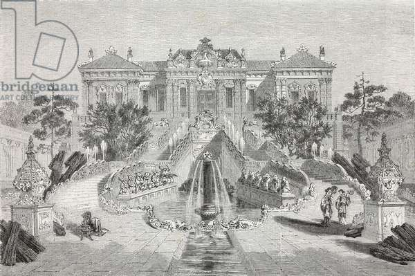 Main facade of Hai-an Thang tching-Mien, or Palace of the serene Sea, Summer Palace, drawing by Emile Therond (1821-?) from a Chinese painting, from Visit to the Old Summer Palace by Guillaume Pauthier (1801-1873), Beijing, China