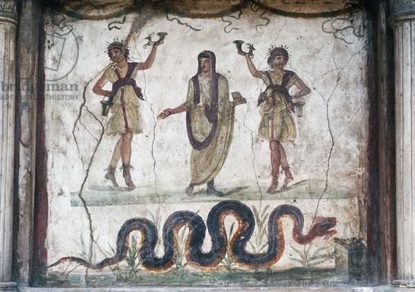 The genius flanked by two dancing Lares and the sacred serpent, lararium, House of the Vettii, Pompeii (Unesco World Heritage List, 1997), Campania, Italy, Roman civilisation, 1st century