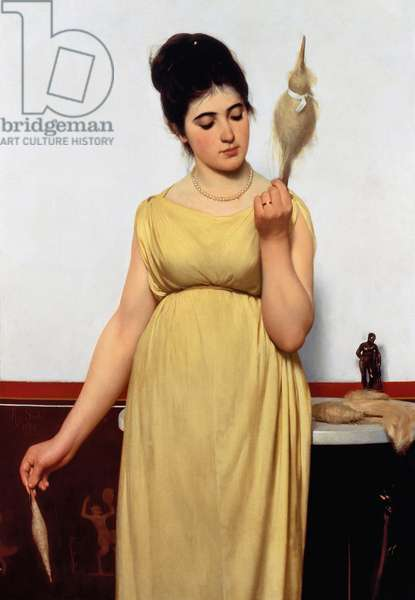 Girl spinning, 1872, by Raffaello Sorbi (1844-1931), oil on canvas, 114x78.7 cm