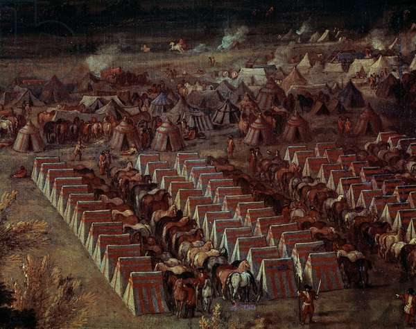 Encampment, detail from taking of Dole on June 6, 1674, painting by Jean Paul, oil on canvas, 229x329 cm