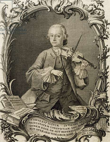 Portrait of Leopold Mozart (Augusta, 1719-Salzburg, 1787), German violinist and composer, father of Wolfgang Amadeus Mozart, Engraving by Andreas Fridrich Jacobs (1684-1751)