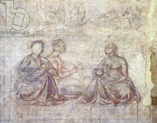 Stories of Jacob and Esau, by Benozzo Gozzoli (1421-1497), synopia (underdrawing), Detail