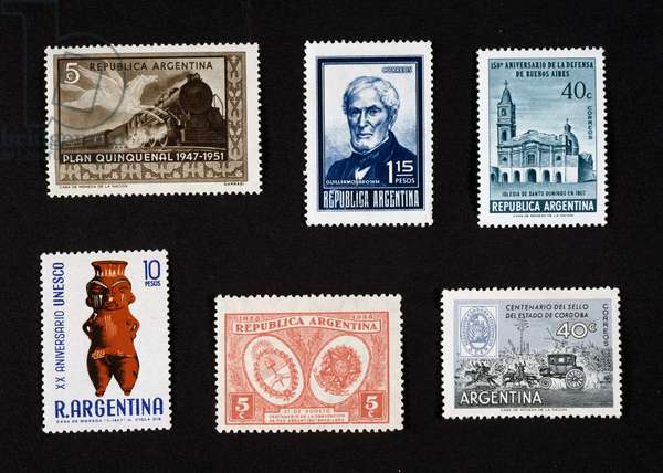 From left to right and from top to bottom: Postage stamp honoring Five-Year Plan, 1951, Depicting steam train, Postage stamp honoring Guillermo Brown