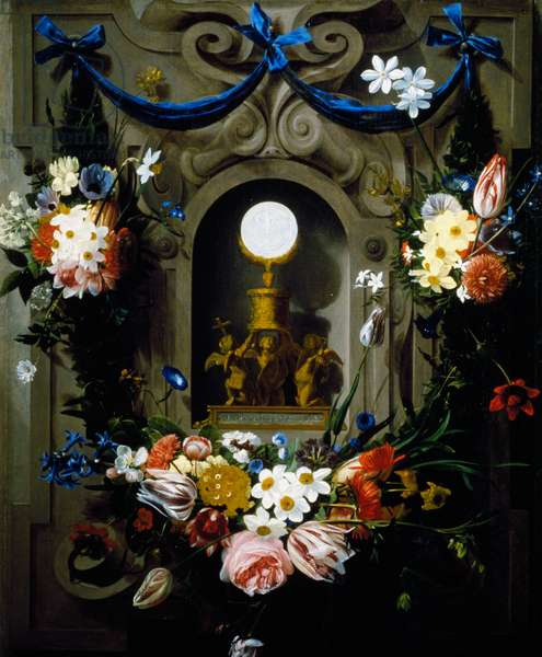 Eucharist in garland of flowers (Die Eucharistie im Blumenkranz), By Johannes-Antonius van der Baren (1615-1687)