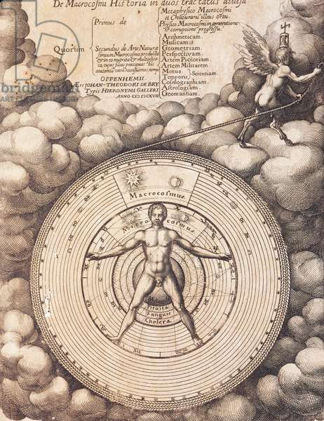 Title page of The history of the macrocosm, The metaphysical, physical and technical history of both major and minor worlds, by Robert Fludd, Oppenheim, 1617-1624, detail, 17th century