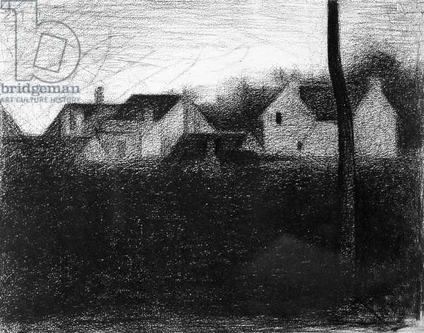 Houses (Effect of sunlight), 1881-1882, by Georges Seurat (1859-1891), drawing, 24x31 cm.
