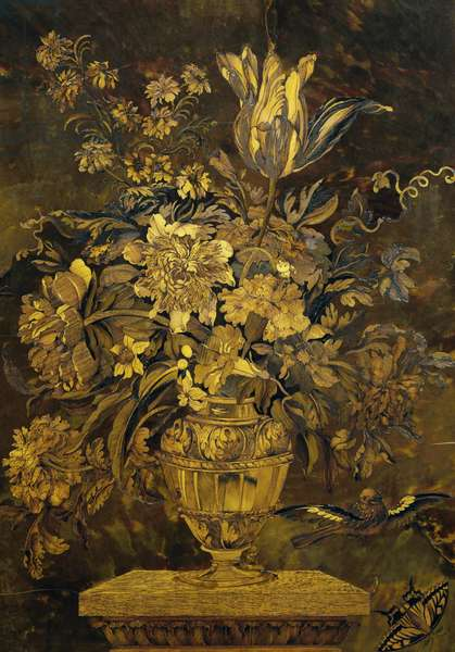 Marquetry inlay on ebony cabinet door, by Andre-Charles Boulle (1642-1732), France, 17th century, detail