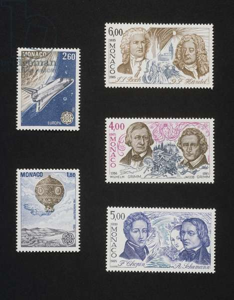 1983, 1st flight of space shuttle Challenger, 1st flight of hot-air balloon, famous Writers and Musicians, 1985, Johann Sebastian Bach and Georg Friedrich Handel, Wilhelm Karl Grimm and Jacob Ludwig Karl Grimm, Frederic Francois Chopin and Robert Schumann