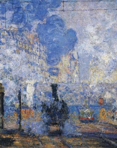 Saint Lazare Station, by Claude Monet, 1877, oil on canvas, 1840-1926, 755x104 cm detail