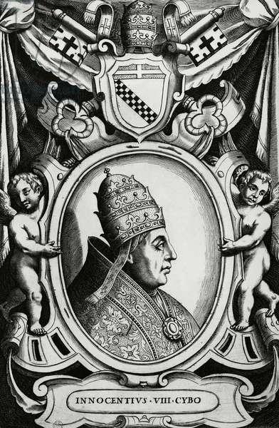 Portrait of Pope Innocent VIII (Giovanni Battista Cybo, 1432-1492), engraving